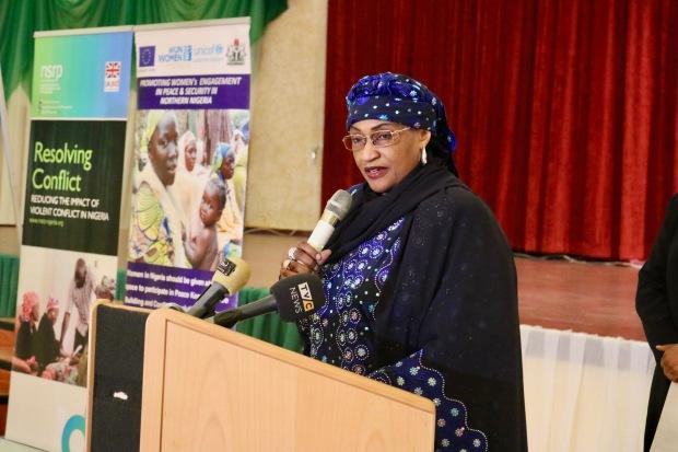Minister of Women Affairs and Social Development (Senator Aisha Al-Hassan) delivering keynote address at NAP launch
