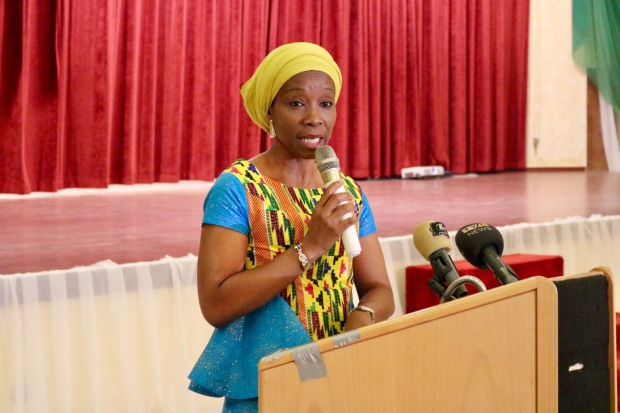 UN Women Nigeria Country Representative (Comfort Lamptey) sharing goodwill remarks at NAP launch